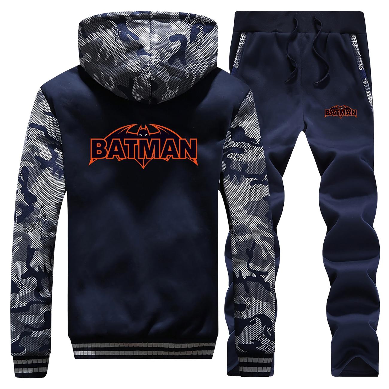 Batman Superhero Winter 2019 Camouflage Casual Mens Hoodies Coat Thick Suit Fashion Warm Jackets Sportswear+Pants 2 Piece Set