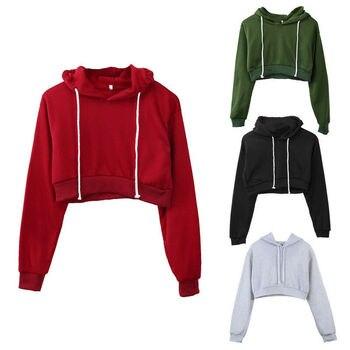 New Casual Women Hoodies Long Sleeve Short Hooded Sweatshirt For Women Solid Cropped Hoodies Pullover Lady Street Wear Crop Tops