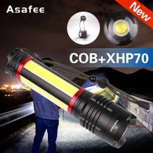 Super Powerful XHP70 COB Led Flashlight Zoomable LED Flashlight Torch USB Recharge Waterproof Lamp Camping Hunting Lights Lamp