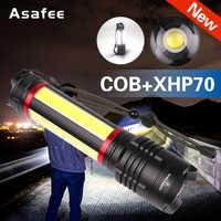 Super poderoso xhp70 cob led lanterna zoomable led lanterna tocha usb recarga à prova dwaterproof água lâmpada de acampamento luzes caça lâmpada