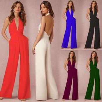 Open Back Halter Jumpsuit purple lace details open back halter pajama dress with t back