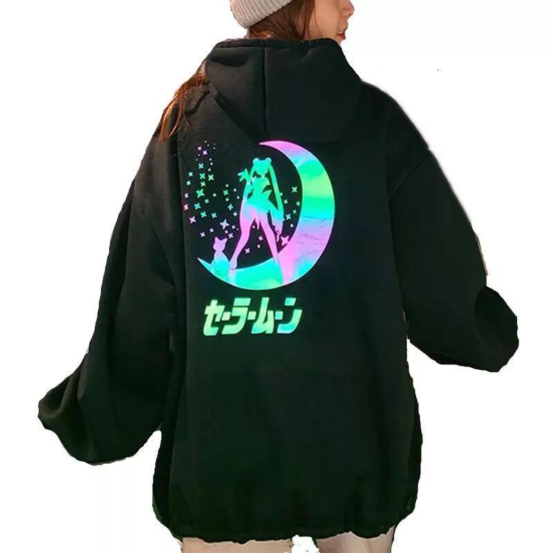 Harajuku Sailor Moon Cartoon Print Hoodie Women Loose Casual Reflective Material Long Sleeve Pullover Tops Streetwear Sweatshirt