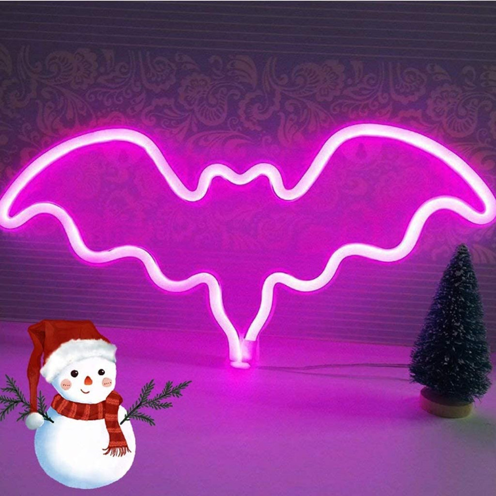 Bat Night Light LED Neon Signs Blue for Bar Wall Decor Halloween Party Hang Up Decorative
