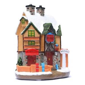 Image 4 - Casa di Villaggio di natale, Natale Inverno Sci Lodge Ornamento Illuminato Scena House