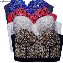 Gothique perles strass chaîne Rivet Corset Bralette haut court Bustier Camisole fête salon Club Sexy pansement Push Up(China)
