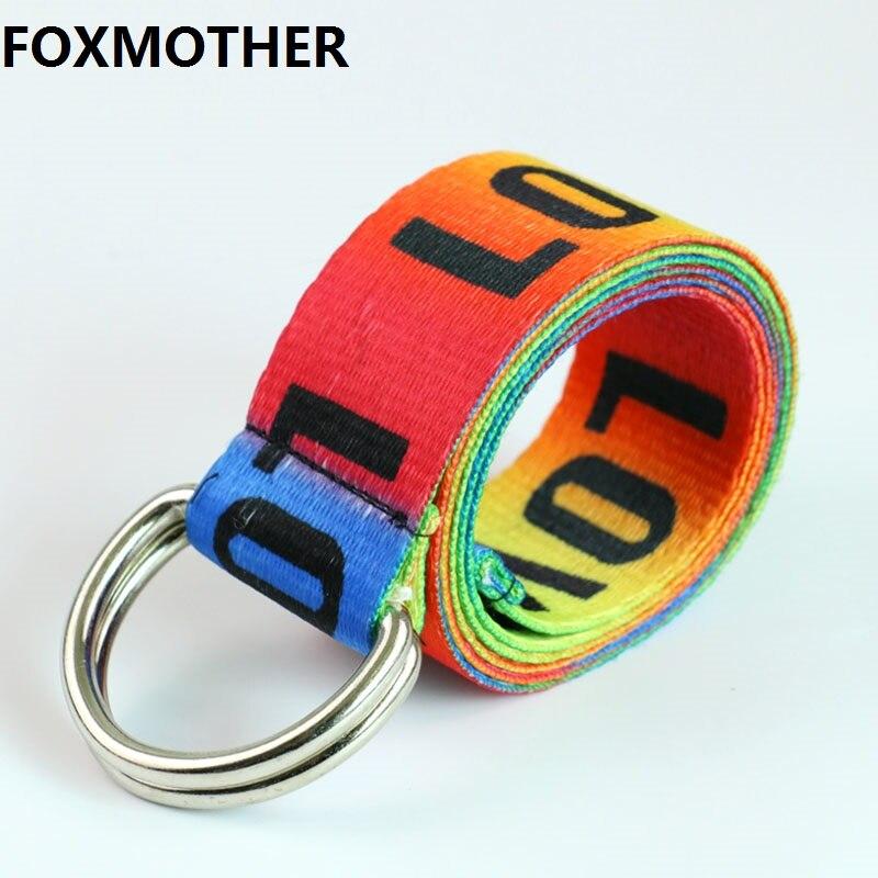 FOXMOTHER-Cinturón de lona con letras de amor para mujer, cinturón femenino de arcoíris, con hebilla de plata doble, a la moda