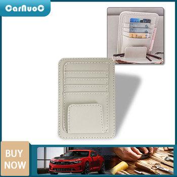 Leather Car Sun Visor Sunglasses Card Holder Storage Bag For BMW 3 5 Series F30 F10 E60 E90 E36 E34 E39 E91 Black Beige image