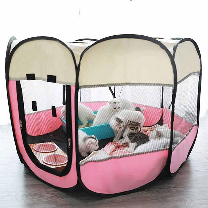 แบบพกพากลางแจ้ง Kennels รั้วสุนัขเต็นท์บ้านสำหรับสุนัขพับได้ในร่มลูกสุนัขแมวกรงสัตว์เลี้ยงแปดเหลี่ยมรั้ว вольер для собак