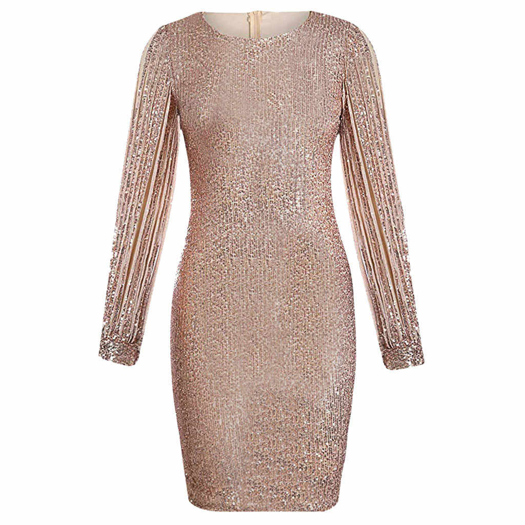 패션 여성 드레스 섹시한 o-넥 sequined 반짝이 바느질 빛나는 클럽 칼집 긴 소매 미니 드레스 vestidos пььl41