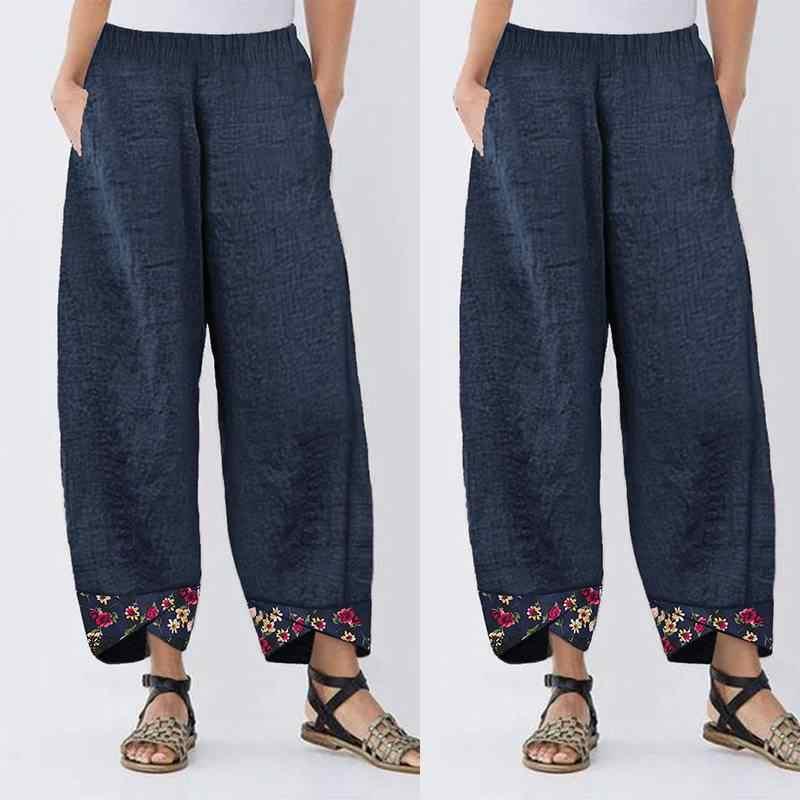 Femmes décontracté sarouel automne taille élastique large jambe Pantalon Vintage imprimé fleuri Pantalon femme ample Pantalon grande taille