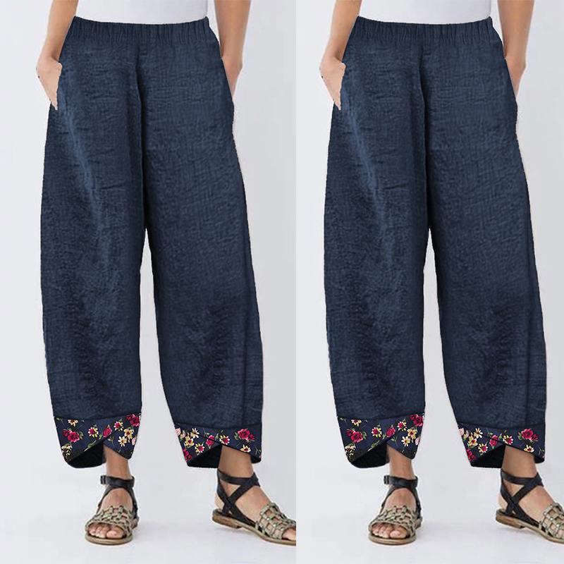Women Casual Harem   Pants   Autumn Elastic Waist   Wide     Leg     Pants   Vintage Floral Printed Trousers Female Loose Pantalon Plus Size