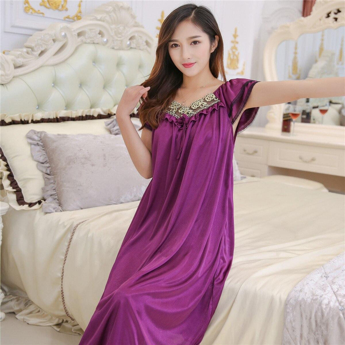 Summer Viscose Nightgown Women's Plus-sized Size Midi-skirt Thin One-piece Tracksuit Pajamas