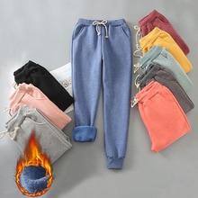 Autunno Inverno Harem Pantaloni Caldi delle Donne di Velluto di Spessore Pantaloni in Cashmere di Colore Della Caramella Delle Donne di Inverno Allentato Causale Delle Donne di Pantaloni M XL