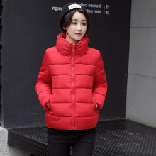 KMVEXO 2019 Winter Autumn Cotton Padded Women Jacket Female Solid Color Short Korean Womens Coat Wholesale Outwear Stand Collar