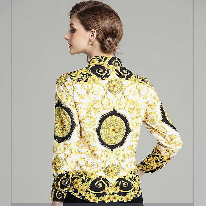 Neue stil mode 2019 neue Barock wind totem druck revers langen ärmeln hemd