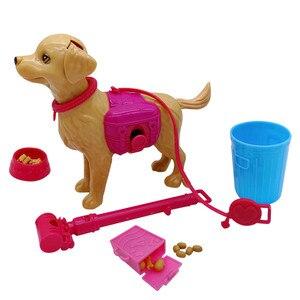 1:6 Plastic Grote Grijze Wolf Hond Kom Feed Bot Speelgoed Set Prinses Barbies Pop Gift Meubels Kinderen Speelgoed Prinses Accessoires(China)