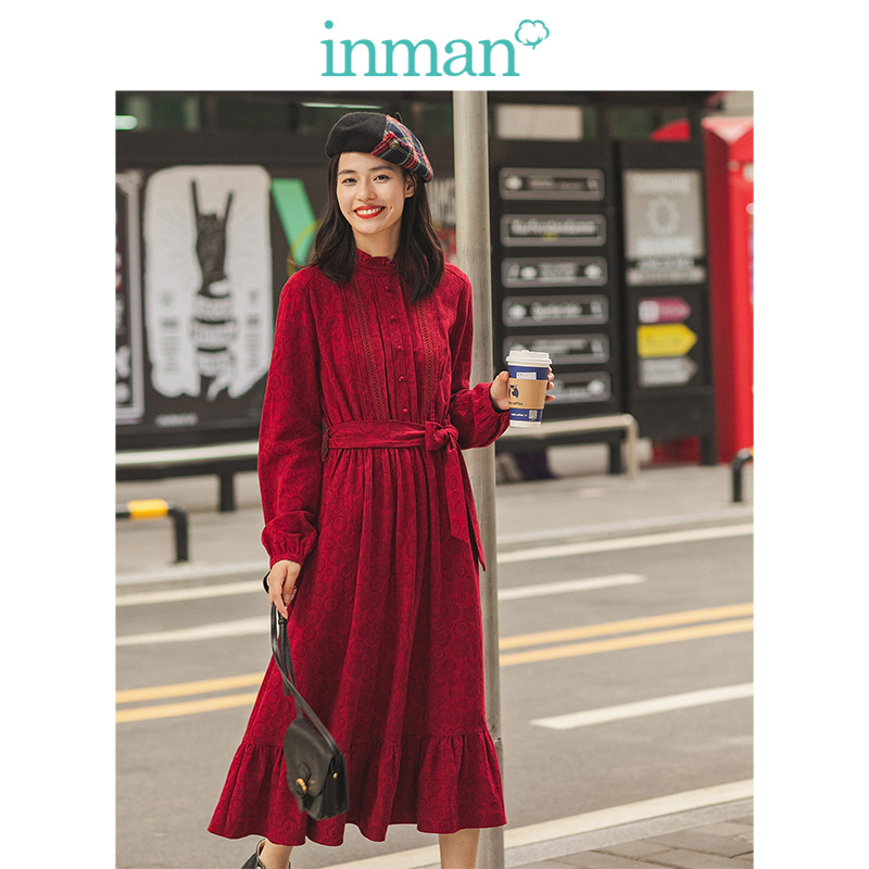 INMAN Winter Literary Floral Embroidery Defined Waist Scollop O-neck Long Sleeve Women Dress