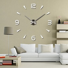 Acrylic Large Wall Clock Sticker Mute Living Room Decorative Self adhesive DIY 3D Wall Clock Modern Design Mirror Wall Stickers funlife 3d diy moon stars clock acrylic mirror wall sticker