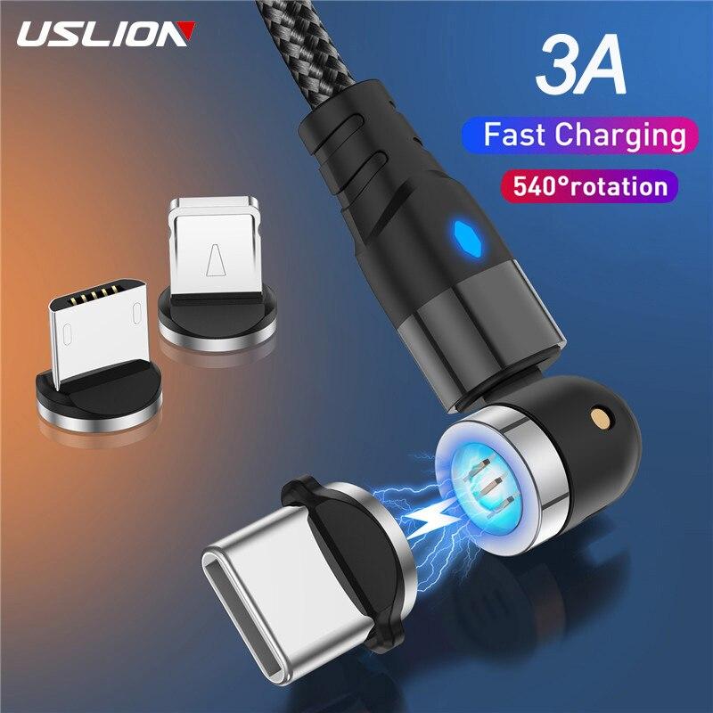 Uslion 540 girar cabo magnético micro usb tipo c cabo magnético 3a cabo de carregamento rápido para iphone 11 pro xs max samsung xiaomi