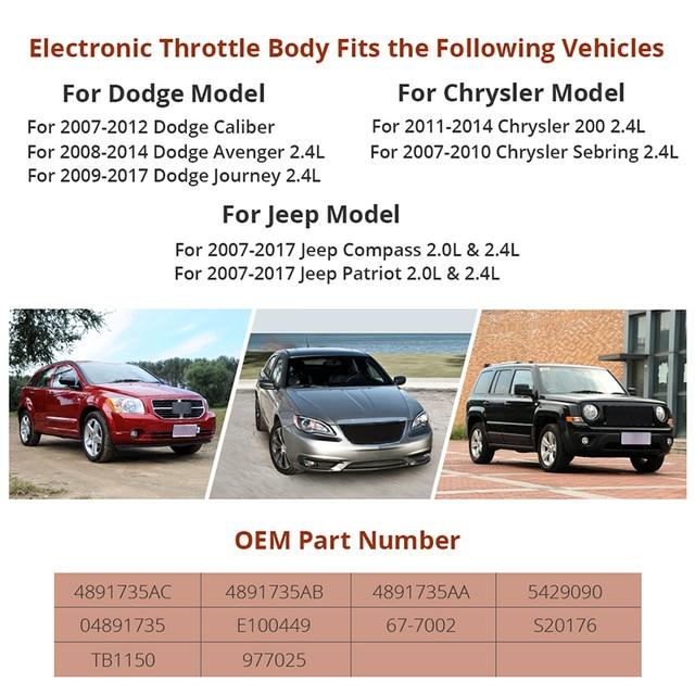 Electronic Throttle Body For Dodge Avenger Caliber Journey Chrysler 200 Sebring Jeep Compass Patriot Replace 04891735AC 2