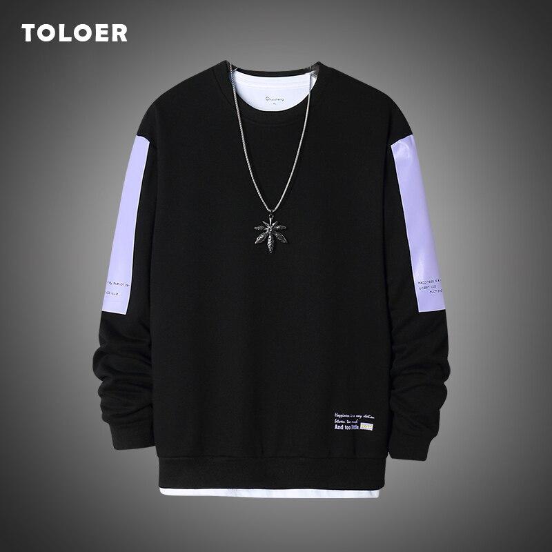 Männer Streetwear Hoodies Casual Crew Neck Solid männer Sweatshirt Hip-Hop Tragen Langarm Männer Pullover 2020 Herbst übergroßen