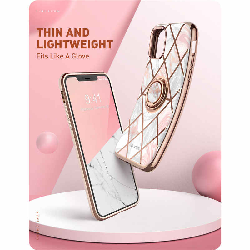 For iphone 11 Case (2019) i-Blason Cosmo Snap Slim Marble Cover with Built-in Rotatable Ring Holder Kickstand Support Car Mount