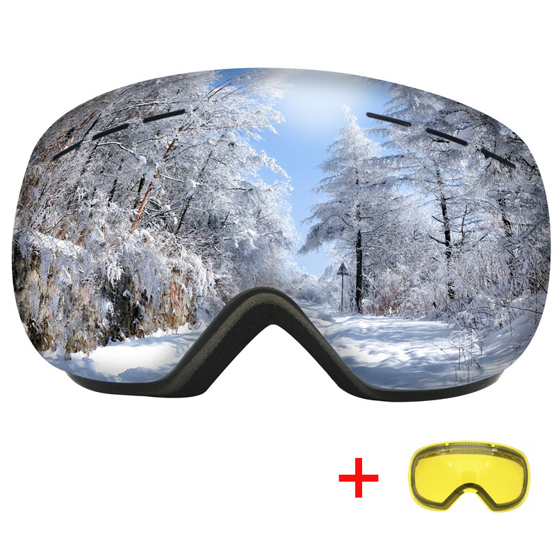 Windproof Ski Goggles With Night Vision Lens Winter Anti-fog Skiing Eyewear Sports HD UV400 Snowmobile Snowboard Glasses Mask