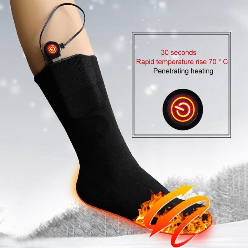 1 Pair Heating Socks Unisex Infrared USB Electric Heated Socks Winter Outdoor Ski Cycling Women Men Warm Socks Comfortable