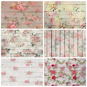 Image 1 - Laeacco Wooden Board Flowers Photography Backdrops Children Portrait Newborn Backgrounds Baby Shower Photocall For Photo Studio