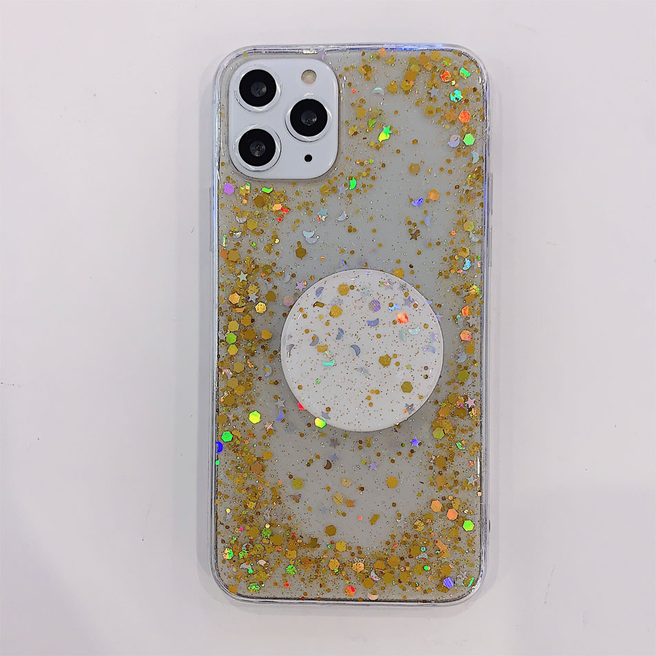 He8513fa78217403fababec7fb1f36836Q - Bling Glitter Phone Case For iphone 11 Case 11 pro max 6 6s 7 8 Plus X XR XS Max Star Sequin Cover Funda Stand Holder Coque