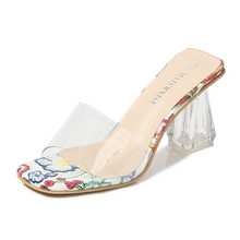 Women 2019 Summer Female Model T Show Sexy Crystal Sandals Shoes 8.5cm High-heeled Transparent Slippers Shoes MS-A0016 women shoes female model t station catwalk sexy crystal transparent shoes 15cm high heels waterproof head fish head sandals