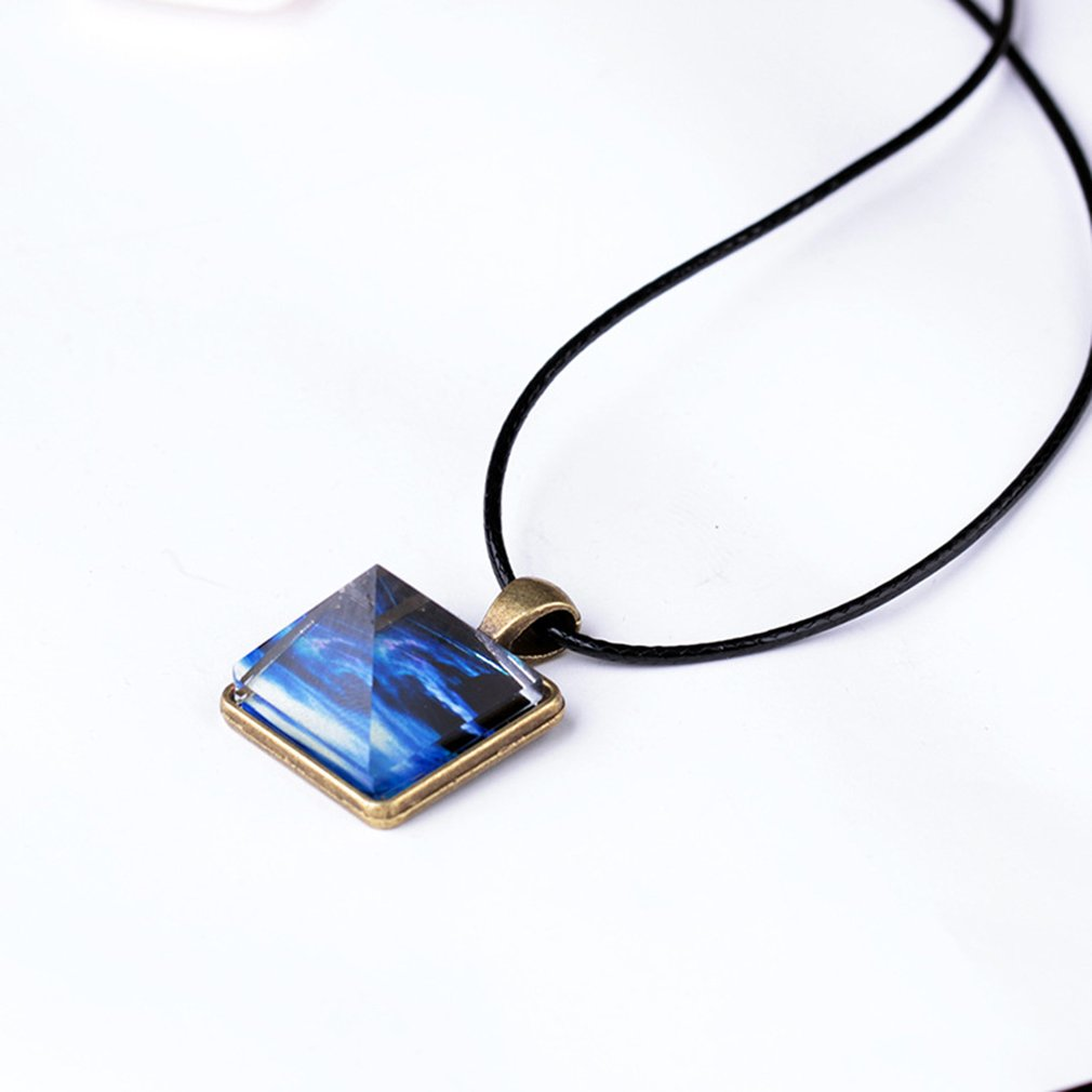 Luminous Star Series <font><b>Necklace</b></font> Crystal Pyramid Triangle Geometric Pendant Galaxy Star Dust Starry Night <font><b>Glow</b></font> <font><b>in</b></font> <font><b>the</b></font> <font><b>Darkness</b></font> Chic image