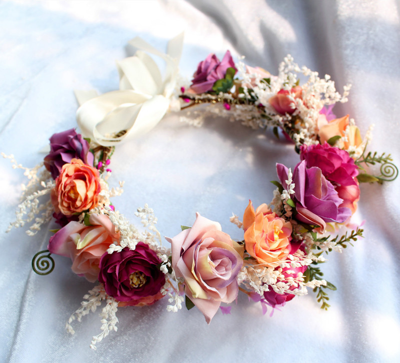 Woman Handmade hay wreath  Bride Wedding Hair Bands Accessories Girls Bohemian Garland Summer Beach Head Bands Headdress