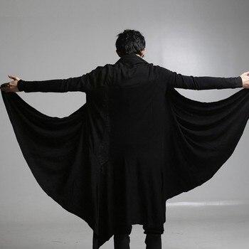 New Asymmetric Length Long Sleeve Korean Mens T-Shirt Loose Fit High Quality Brand Man Tops Solid Black Fashion Clothes