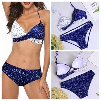 2020 Women Sexy Bikini Set Push Up Female Swimsuit Swimwear Swim Halter Polka Dot Two Piece Brazilian Bathing Suit Plus Size 3XL plus size halter polka dot bikini swimwear