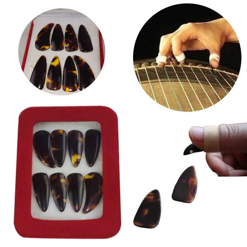 8PCS/Set Guzheng Imitation Natural Gu Zheng Nail Withe Tape Musical Accessories Guzheng Finger Picks