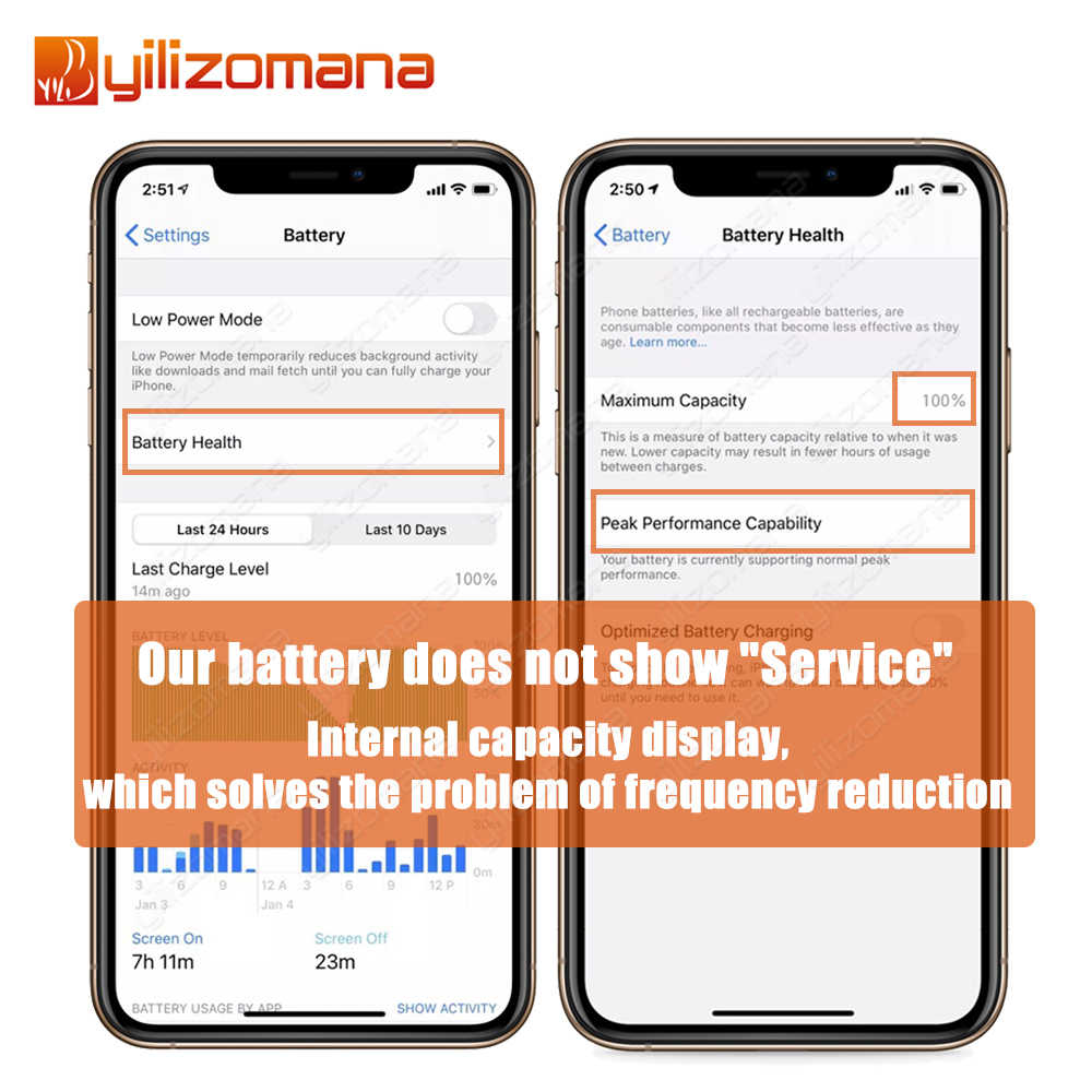 YILIZOMANA oryginalna Bateria telefonu komórkowego dla iPhone5s 6 6s 7 8 Plus Bateria zapasowa dla iPhone SE X XR XS 11 Pro Max Bateria