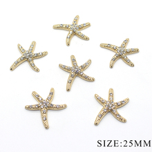 Selling flash diamond 10pcs 25MM starfish alloy rhinestone b