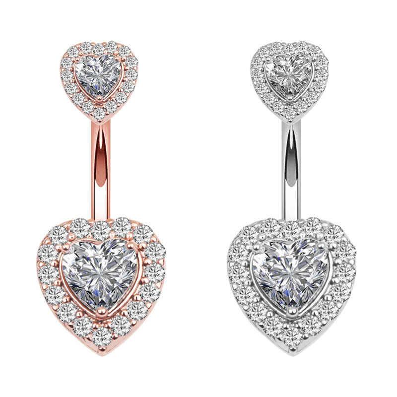 Новое кольцо в форме сердца, циркония, пупка, кольцо-гвоздик, 316L, медицинский, нержавеющая сталь, прокол, кристалл, сверкающие ювелирные изделия для женщин, вечерние