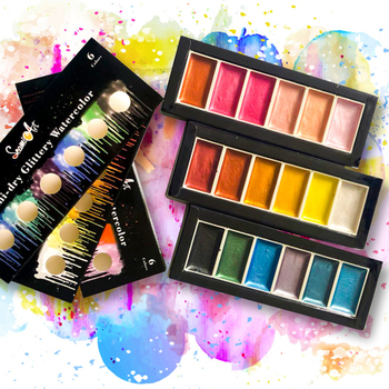 6 Colors Glittery Solid Watercolor Paint Set Pearlescent Pigment Students Watercolor Paint for Drawing Art Supplies original south korean high quality very good wcs 103water colors 24 colors 7 5 ml watercolor oil paint