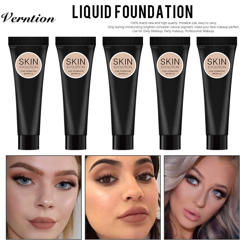 Verntion Waterdichte Vloeibare Foundation Make-Up Base Gezicht Vloeibare Foundation Bb Cream Concealer Moisturizer Olie-Control Whitening