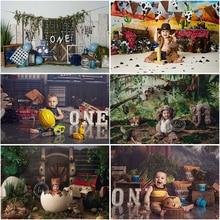 Mocsicka Jongen Cake Smash Verjaardag Fotografie Achtergronden Pasgeboren Baby Kids 1st Verjaardag Portret Photocall Achtergrond Foto Studio