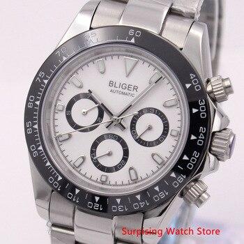 Bliger 39mm mecánico automático reloj de pulsera de acero inoxidable de fecha y Día de la semana deporte impermeable reloj de pulsera para hombres