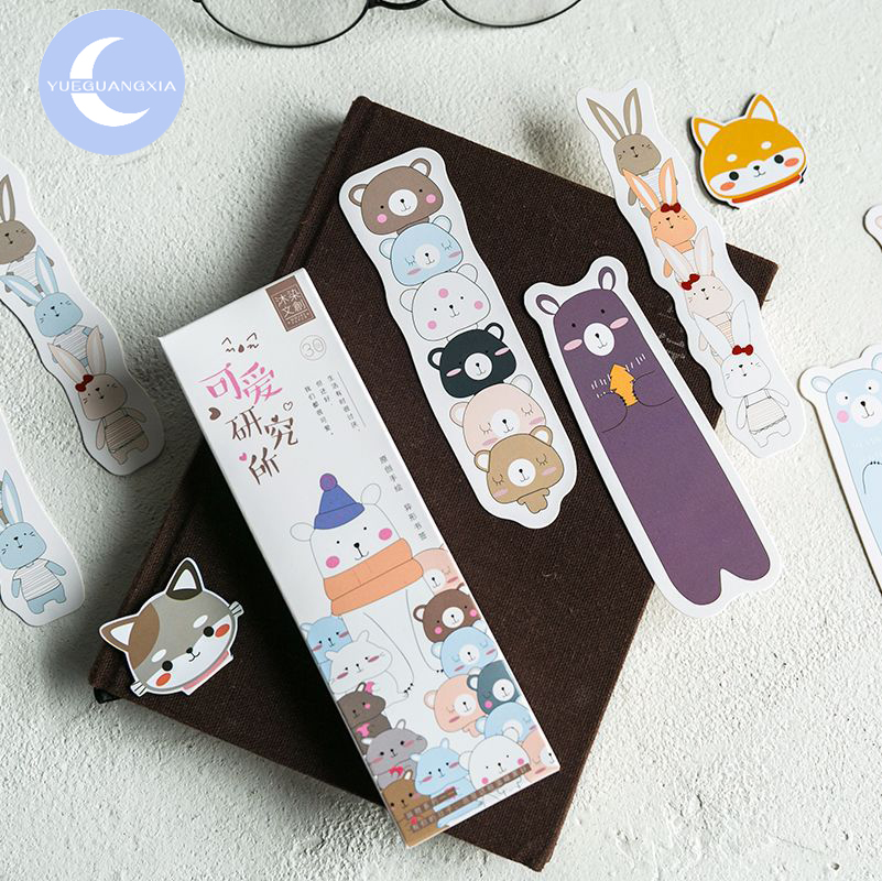 YUEGUANGXIA 30pcs/box Lovely Animal Rabbit Polar Bear Irregular Bookmarks For Reading Maker Page Book Markers School Supplies