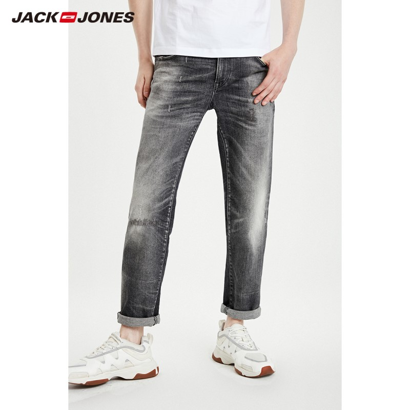 JackJones Men's Loose Straight Fit Stretch Distressed Crop Jeans| Style Jeans 219132523