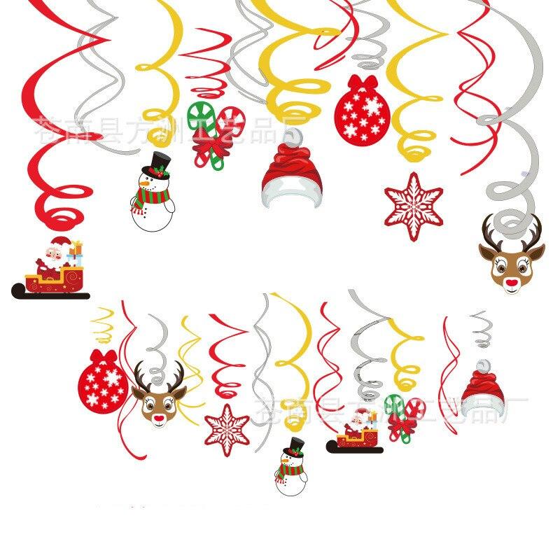 30pcs Espiral Natal Papai Noel Alces Decorações Para Casa Pendurado Pingentes Ornamentos Cristmas Natal Navidad 2019 Xmas Decor