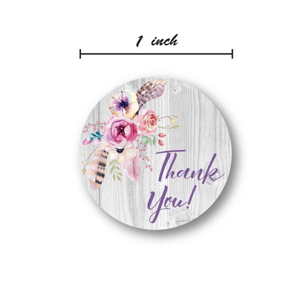 500 قطعة البوهيمي الأزهار شكرا لك ملصقات سعيد عطلة ملصق لحفلات الزفاف الديكور أعواد تزيين الحفلات