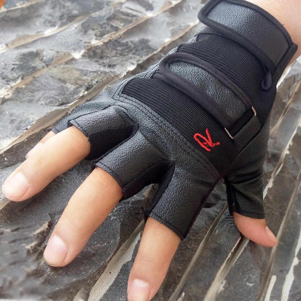Thicken hombres guantes tácticos deportes al aire libre guantes sin dedos mitones bicicleta ciclismo guantes medio dedo guantes de cuero