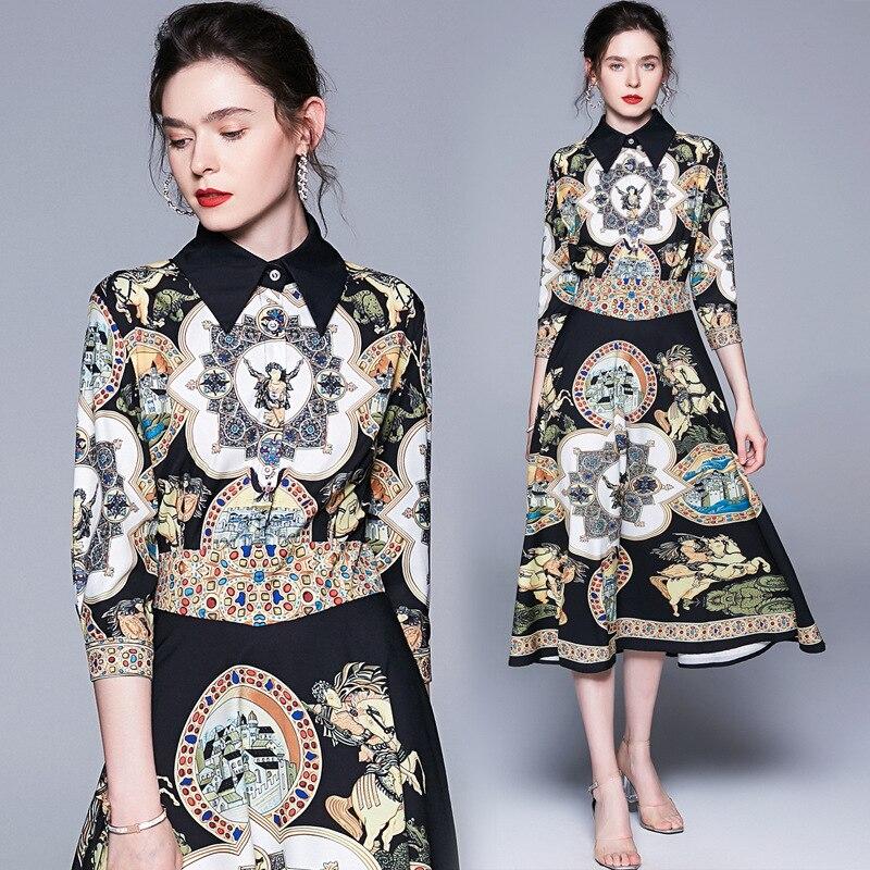 Ozhouzhan 2019 Trend Summer Wear New Style WOMEN'S Dress Retro Fold-down Collar Printed High-waisted Mid-length Dress Fashion