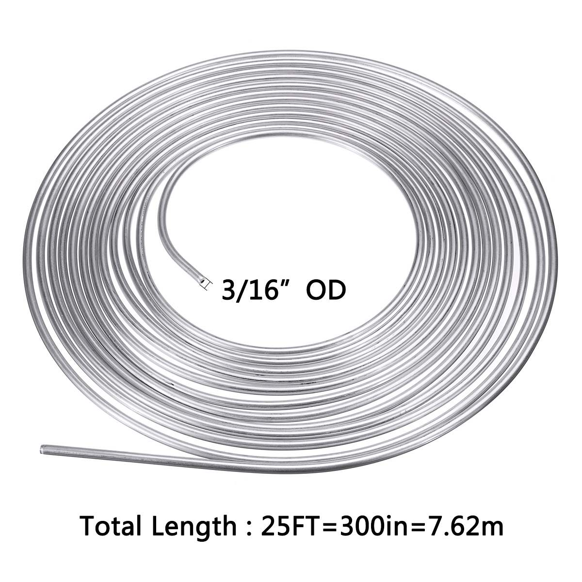 "25ft 7.62m Roll Tube Coil of 3/16"" OD Copper Nickel Brake Pipe Hose Line Piping Tube Tubing Silver Zinc"
